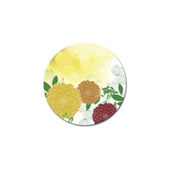 Abstract Flowers Sunflower Gold Red Brown Green Floral Leaf Frame Golf Ball Marker (4 Pack) by Alisyart