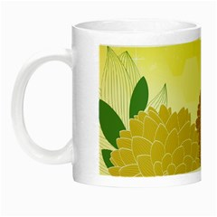 Abstract Flowers Sunflower Gold Red Brown Green Floral Leaf Frame Night Luminous Mugs by Alisyart