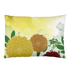 Abstract Flowers Sunflower Gold Red Brown Green Floral Leaf Frame Pillow Case by Alisyart