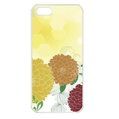 Abstract Flowers Sunflower Gold Red Brown Green Floral Leaf Frame Apple Iphone 5 Seamless Case (white) by Alisyart