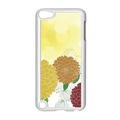 Abstract Flowers Sunflower Gold Red Brown Green Floral Leaf Frame Apple Ipod Touch 5 Case (white) by Alisyart