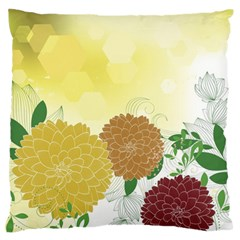 Abstract Flowers Sunflower Gold Red Brown Green Floral Leaf Frame Standard Flano Cushion Case (one Side) by Alisyart