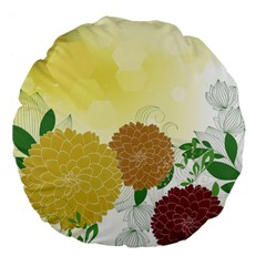Abstract Flowers Sunflower Gold Red Brown Green Floral Leaf Frame Large 18  Premium Flano Round Cushions by Alisyart