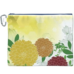 Abstract Flowers Sunflower Gold Red Brown Green Floral Leaf Frame Canvas Cosmetic Bag (xxxl) by Alisyart