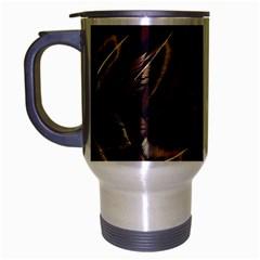 Feathers Bird Black Travel Mug (silver Gray) by Simbadda