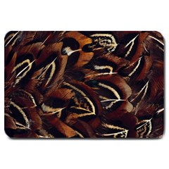 Feathers Bird Black Large Doormat  by Simbadda
