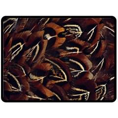 Feathers Bird Black Fleece Blanket (large)  by Simbadda