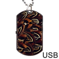 Feathers Bird Black Dog Tag Usb Flash (two Sides) by Simbadda