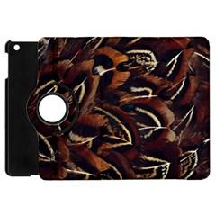 Feathers Bird Black Apple Ipad Mini Flip 360 Case by Simbadda