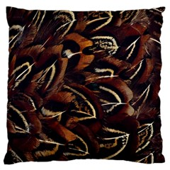 Feathers Bird Black Large Flano Cushion Case (one Side) by Simbadda