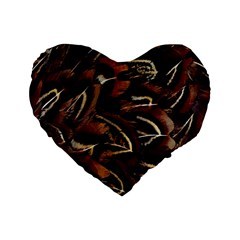 Feathers Bird Black Standard 16  Premium Flano Heart Shape Cushions by Simbadda