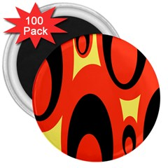 Circle Eye Black Red Yellow 3  Magnets (100 Pack) by Alisyart