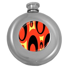 Circle Eye Black Red Yellow Round Hip Flask (5 Oz) by Alisyart