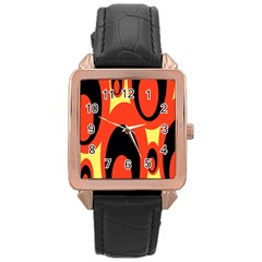 Circle Eye Black Red Yellow Rose Gold Leather Watch  by Alisyart
