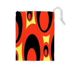 Circle Eye Black Red Yellow Drawstring Pouches (large)  by Alisyart