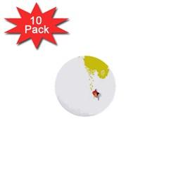 Fish Underwater Yellow White 1  Mini Buttons (10 Pack)  by Simbadda