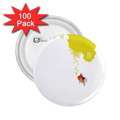 Fish Underwater Yellow White 2 25  Buttons (100 Pack)  by Simbadda