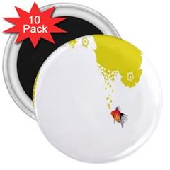 Fish Underwater Yellow White 3  Magnets (10 Pack)  by Simbadda