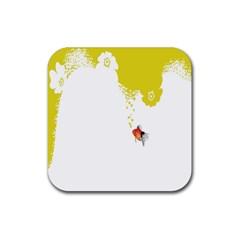 Fish Underwater Yellow White Rubber Square Coaster (4 Pack)  by Simbadda