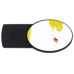 Fish Underwater Yellow White Usb Flash Drive Oval (4 Gb) by Simbadda