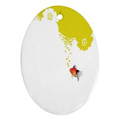 Fish Underwater Yellow White Oval Ornament (two Sides) by Simbadda