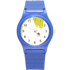 Fish Underwater Yellow White Round Plastic Sport Watch (s) by Simbadda