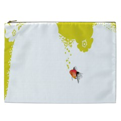 Fish Underwater Yellow White Cosmetic Bag (xxl)  by Simbadda