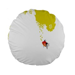 Fish Underwater Yellow White Standard 15  Premium Round Cushions by Simbadda