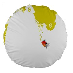Fish Underwater Yellow White Large 18  Premium Round Cushions by Simbadda