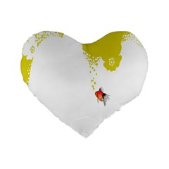 Fish Underwater Yellow White Standard 16  Premium Flano Heart Shape Cushions by Simbadda