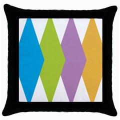 Chevron Wave Triangle Plaid Blue Green Purple Orange Rainbow Throw Pillow Case (black) by Alisyart