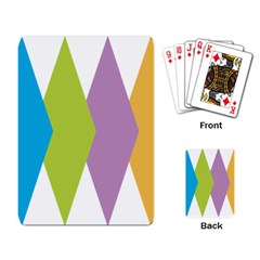 Chevron Wave Triangle Plaid Blue Green Purple Orange Rainbow Playing Card by Alisyart