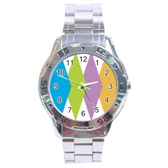 Chevron Wave Triangle Plaid Blue Green Purple Orange Rainbow Stainless Steel Analogue Watch by Alisyart