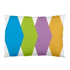 Chevron Wave Triangle Plaid Blue Green Purple Orange Rainbow Pillow Case (two Sides) by Alisyart