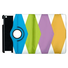 Chevron Wave Triangle Plaid Blue Green Purple Orange Rainbow Apple Ipad 3/4 Flip 360 Case by Alisyart