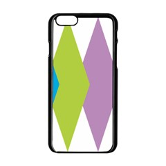 Chevron Wave Triangle Plaid Blue Green Purple Orange Rainbow Apple Iphone 6/6s Black Enamel Case by Alisyart