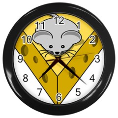 Cheese Mose Yellow Grey Wall Clocks (black) by Alisyart
