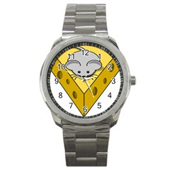 Cheese Mose Yellow Grey Sport Metal Watch by Alisyart