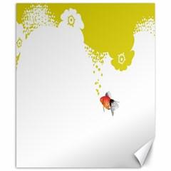 Fish Underwater Yellow White Canvas 8  X 10  by Simbadda