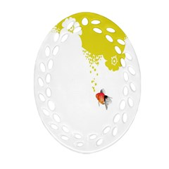 Fish Underwater Yellow White Ornament (oval Filigree) by Simbadda