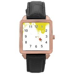 Fish Underwater Yellow White Rose Gold Leather Watch  by Simbadda