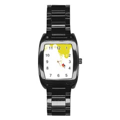 Fish Underwater Yellow White Stainless Steel Barrel Watch by Simbadda