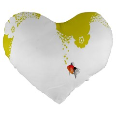 Fish Underwater Yellow White Large 19  Premium Flano Heart Shape Cushions by Simbadda