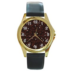 Cubes Small Background Round Gold Metal Watch by Simbadda