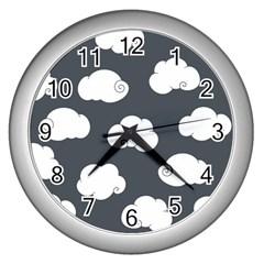 Cloud White Gray Sky Wall Clocks (silver)  by Alisyart