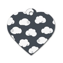 Cloud White Gray Sky Dog Tag Heart (one Side) by Alisyart