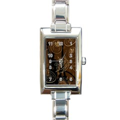 Coffe Break Cake Brown Sweet Original Rectangle Italian Charm Watch
