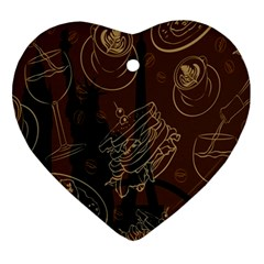 Coffe Break Cake Brown Sweet Original Ornament (heart) by Alisyart