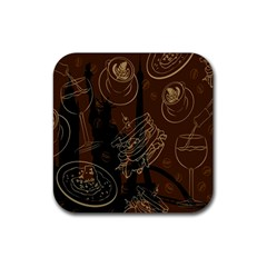Coffe Break Cake Brown Sweet Original Rubber Square Coaster (4 Pack)  by Alisyart
