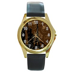 Coffe Break Cake Brown Sweet Original Round Gold Metal Watch by Alisyart